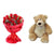 Fondest Affection- Flower Delivery in Category | Flowers | Flowers and Teddy Combo - This exciting flowers and chocolate combo contains: 20 fresh Red Roses One 12 inch Teddy While we always strive to ensure that products are accurately represented in our photographs, from season to season and subject to availability, our florists may be required to substitute one or more flowers for a variety of equal or greater quality, appearance and value.