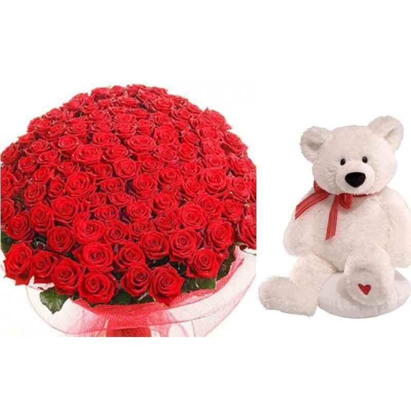 Spectacular Love 100 Roses and Teddy - for Online Flower Delivery In India