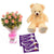 Exotica- Chocolates and Teddy Combo - This exciting combo of Flowers, Chocolates and Teddy contains: 10 fresh pink rose bunch One 6 inch Teddy 5 Dairy Milk chocolates While we always strive to ensure that products are accurately represented in our photographs, from season to season and subject to availability, our florists may be required to substitute one or more flowers for a variety of equal or greater quality, appearance and value.