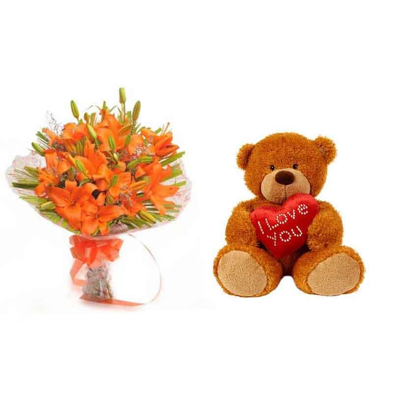 Hug You - Send Flowers to Category | Flowers | Flowers and Teddy Combo
