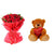 Friends Forever- - Send Flowers to Category | Flowers | Flowers and Teddy Combo - This exciting combo of Flowers, Chocolates and Teddy contains: 20 fresh Red Rose bunch One 6 inch Teddy While we always strive to ensure that products are accurately represented in our photographs, from season to season and subject to availability, our florists may be required to substitute one or more flowers for a variety of equal or greater quality, appearance and value.