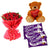 Feel Of Love- Send Gift to Main | Gifts - This exciting combo of Flowers, Chocolates and Teddy contains: 20 fresh Red Rose bunch One 6 inch Teddy 5 Dairy Milk chocolates While we always strive to ensure that products are accurately represented in our photographs, from season to season and subject to availability, our florists may be required to substitute one or more flowers for a variety of equal or greater quality, appearance and value.