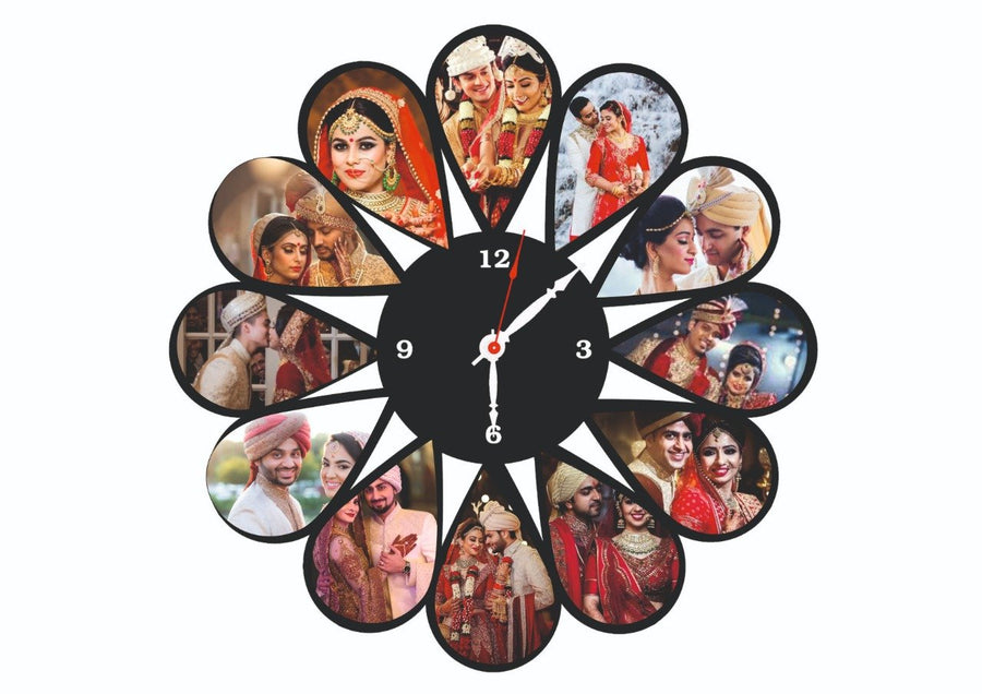 Personalized Photo Collage Wall Clock - for Midnight Flower Delivery in Category | Gifts | Clocks