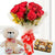 All The Best- Send Flowers to Category | Flowers | Love And Romance - This beautiful combo contains: 10 Red Roses wrapped in cellophane paper Red ribbon bow 6 inch cute teddy 16 pcs Ferrero Rocher
