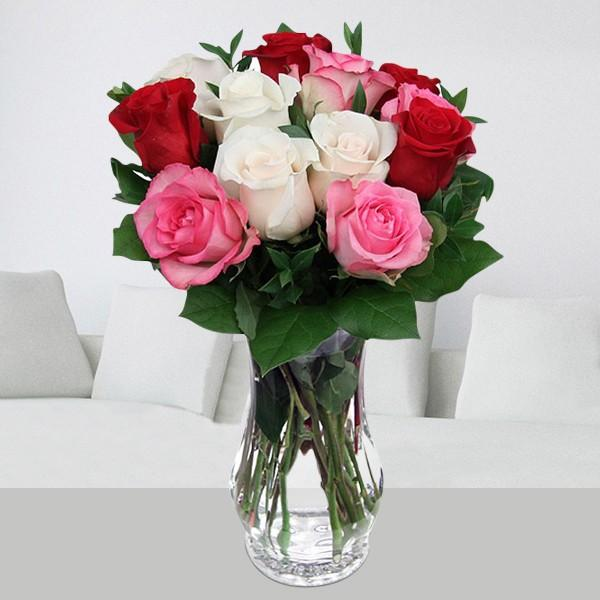 Alluring Roses In Vase - for Midnight Flower Delivery in India