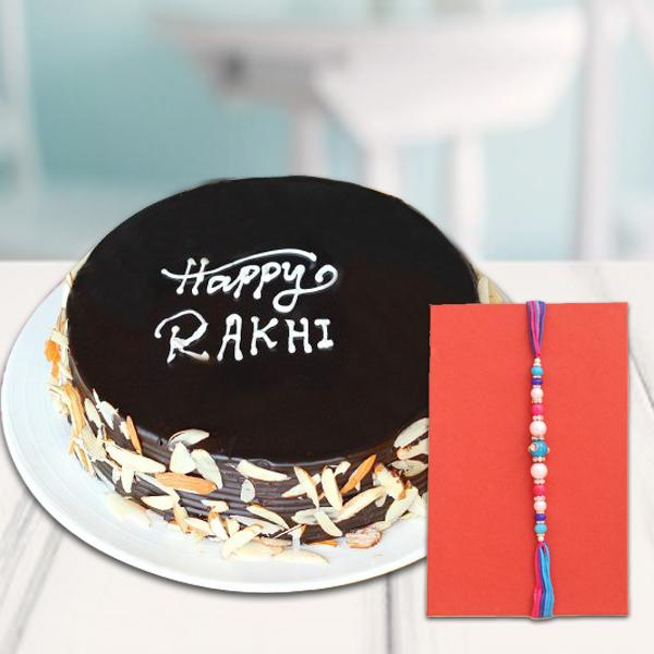 Almond Treat With Rakhi - for Flower Delivery in India