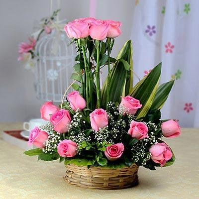 Anonymous Love-20 Roses in Basket - for Flower Delivery in Flowers Online
