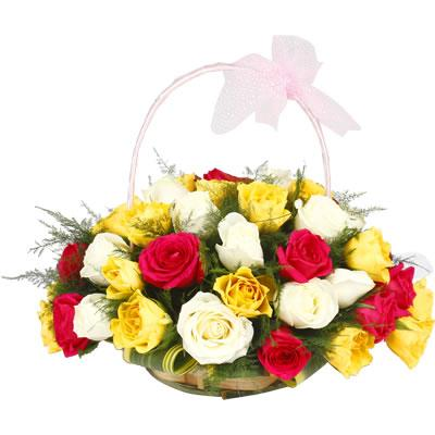 Basket Of Colorful Roses - from Best Flower Delivery in India