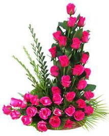 Basket of Love-Basket of 40 Pink Roses - for Flower Delivery in India