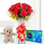 Celebrations Combo- - This beautiful combo contains: 10 Red Roses wrapped in cellophane paper Red ribbon bow 6 inch cute teddy One Cadbury Celebrations