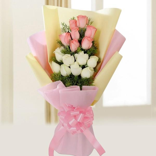 Charming Pink And White-pink and white rose bouquet - for Online Flower Delivery In India