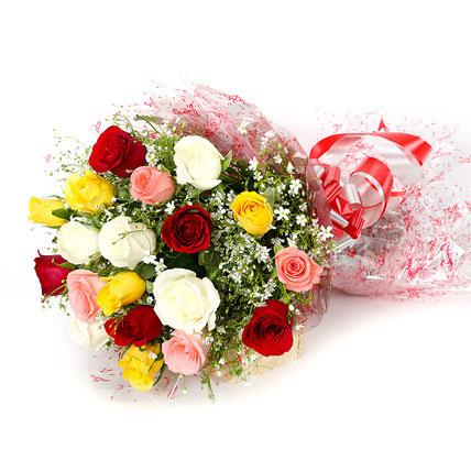 Cheerful Roses Bouquet - for Midnight Flower Delivery in India