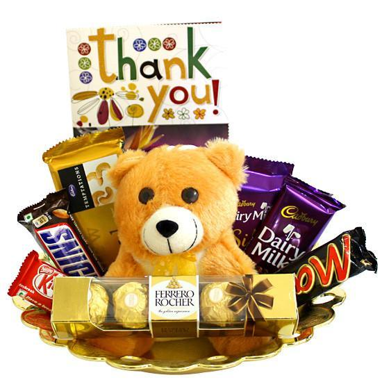 Chocolate And Teddy Basket - for Online Flower Delivery In India