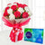 Chocolicious Carnations- - This beautiful combo contains: 10 Red and White Carnations One Cadbury Celebrations