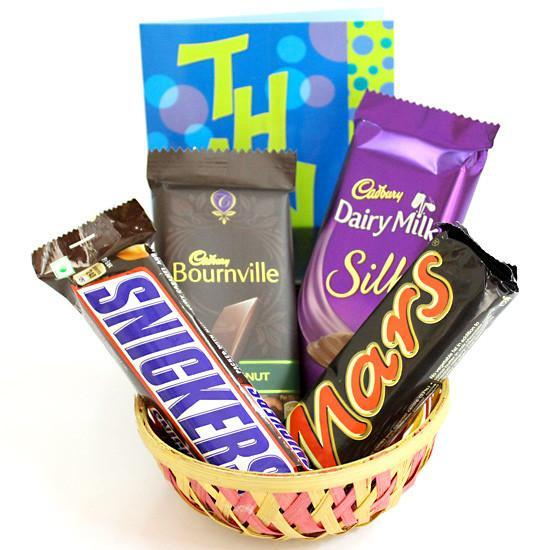 Cute Choco Basket - for Midnight Flower Delivery in India