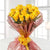 Dazzling Beauty-20 Yellow Roses Bouquet- - Product Details: 20 Yellow Roses Cellophane Packing Yellow Ribbon Bow Seasonal Leaves and Fillers The yellow color is a symbol of youth and cheerfulness. Gift these dazzling and sparking yellow roses packed in cellophane wrapping and tied in dark ribbon. This flower arrangement is handcrafted by our floral experts and comprises 20 farm fresh yellow roses. Spread love and happiness with this gorgeous bouquet and surprise your loved ones on their special days.  While we always strive to ensure that products are accurately represented in our photographs, from season to season and subject to availability, our florists may be required to substitute one or more flowers for a variety of equal or greater quality, appearance and value.