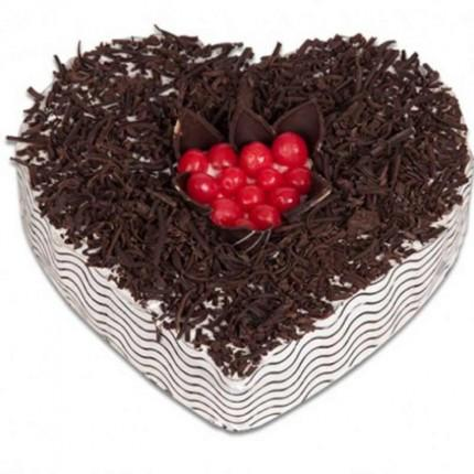Designer Heart Shape Blackforest Cake - for Midnight Flower Delivery in India