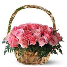 Elegant Basket of Love-pink flower wedding bouquet - Send Flowers to India