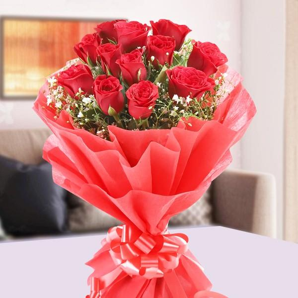 Exotic Red Roses-12 red roses bouquet - for Midnight Flower Delivery in India