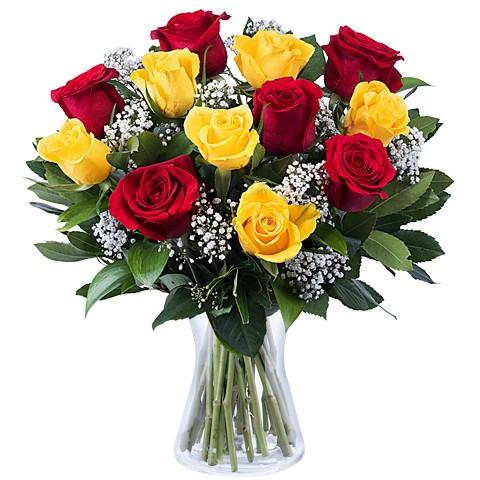 Flower And Emotion-bouquet of red and yellow roses - Send Flowers to India