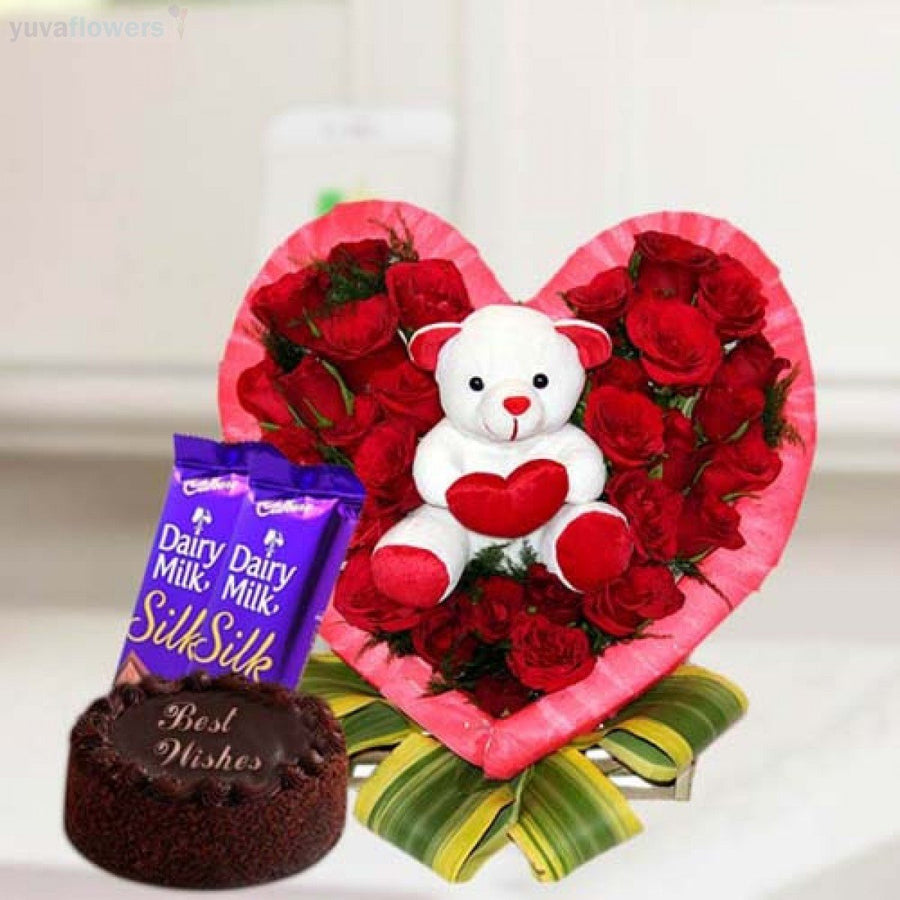 Teddy Love and Wishes - for Online Flower Delivery In India