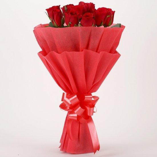 Glamorous Sentiment-10 red roses bouquet - Send Flowers to India
