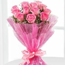 Good morning Love- 12 Pink Roses Bouquet - Send Flowers to India