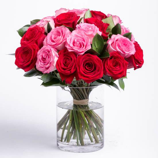 Graceful Beauty-red pink and white rose bouquet - for Midnight Flower Delivery in India