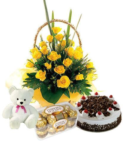 Happiness Basket Combo - for Midnight Flower Delivery in India