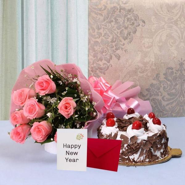Happy New Year With Cake - from Best Flower Delivery in India