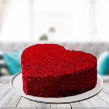 Heart Shape Red Velvet Cake - for Midnight Flower Delivery in India