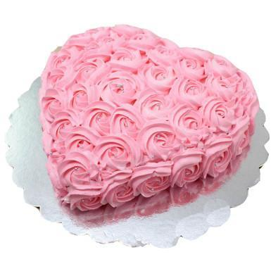 Heart Shape Rose Strawberry Cake - for Midnight Flower Delivery in India