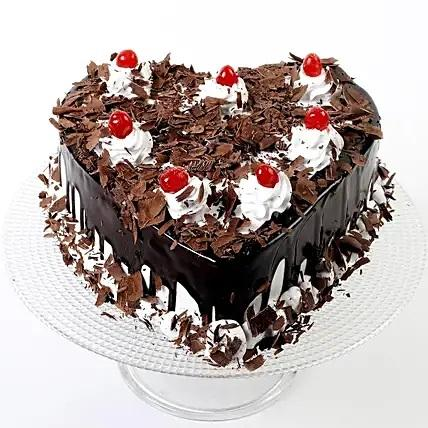 Heart Shaped Black Forest Cake - Send Flowers to India