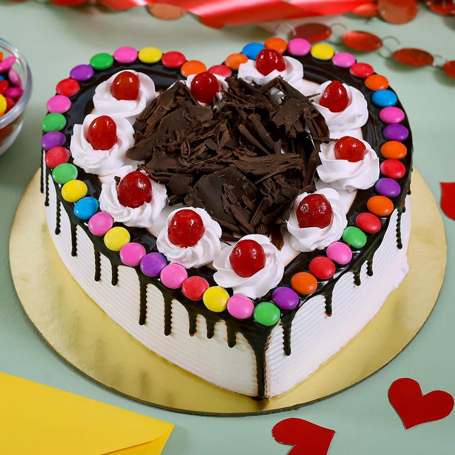Hearty Indulging Gems Forest Cake - for Flower Delivery in India