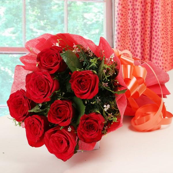 Hot Red Rose-bunch of red roses - for Online Flower Delivery In India