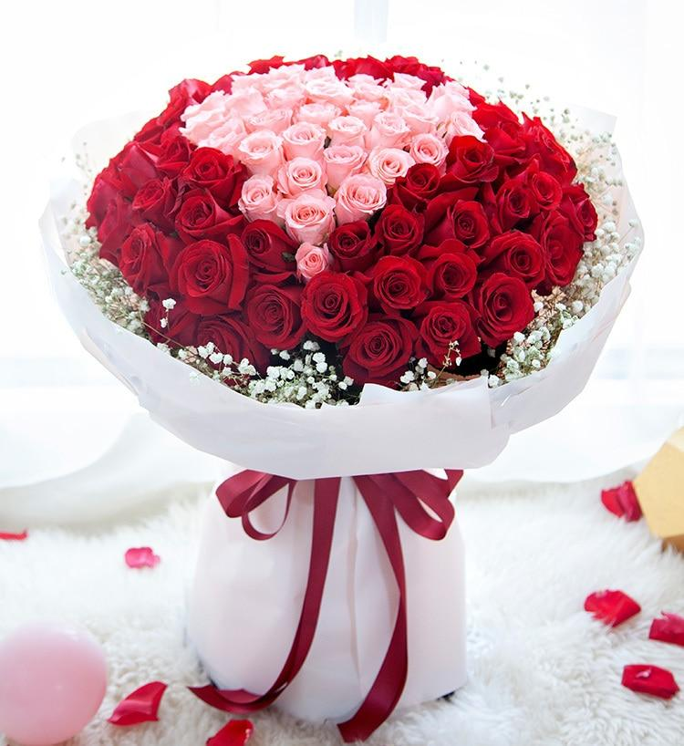 Impression By Blooms Villa-100 Red and Pink Roses - from Best Flower Delivery in India