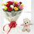 Innocent Teddy Love- - This beautiful combo contains: 12 mix color roses wrapped in white tissue paper Red Ribbon bow 6 inch cute teddy