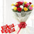 Kitkat n Roses- Send Gift to Occasion Gifts New Year - This beautiful combo contains: 12 mix color roses wrapped in white tissue paper Red Ribbon bow 5 Kitkat chocolates