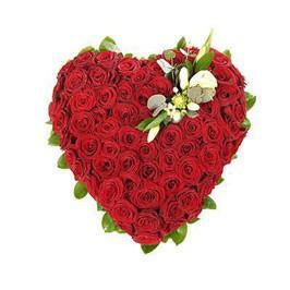 Lovely Heart- Heart Shaped 100 Red Roses Bouquet - for Flower Delivery in India