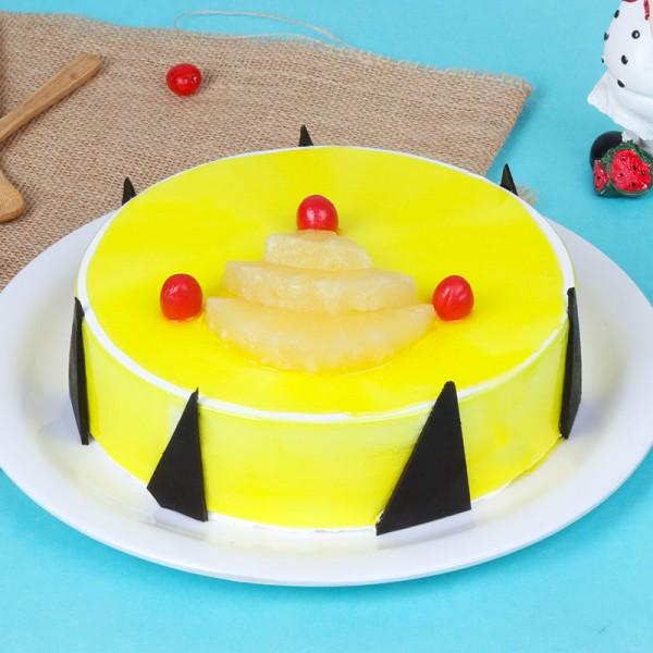 Luscious Pineapple Birthday Cake - for Midnight Flower Delivery in India