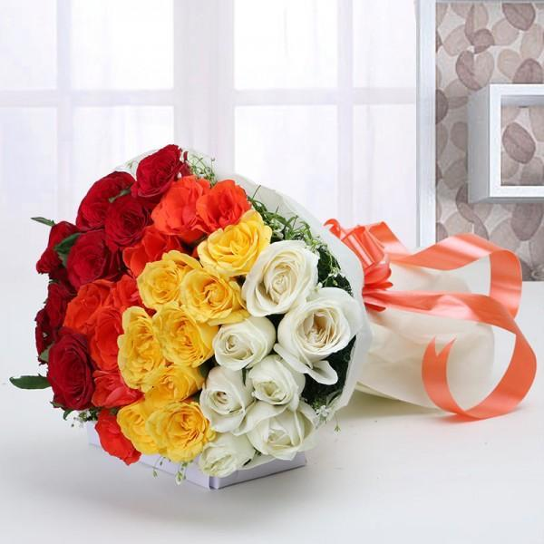 Mix Flower Bouquet For Valentine - for Midnight Flower Delivery in India