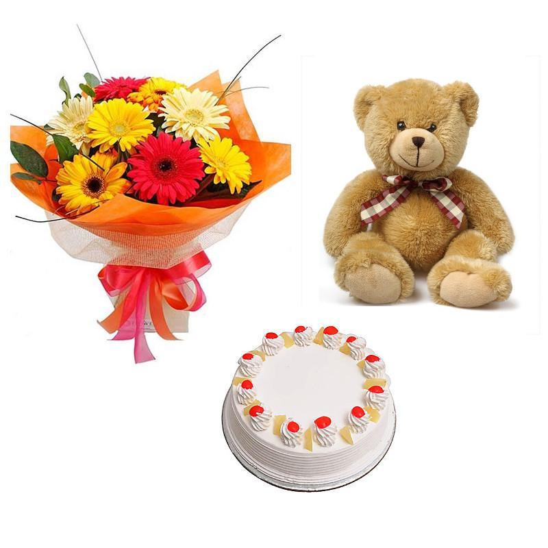 Gerbera, Teddy and Cake Combo - from Best Flower Delivery in India