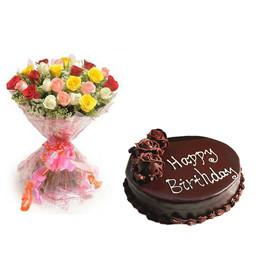 Mixed Roses and Chocolate Cake Combo - for Online Flower Delivery In Main | Gifts