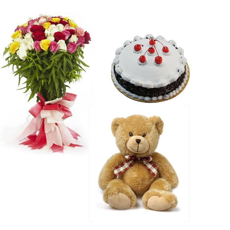 Mixed Roses, Teddy and Blackforest Cake combo