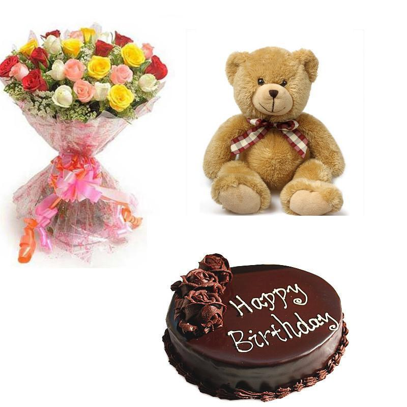 Mixed Roses, Teddy and Cake Combo - for Flower Delivery in Main | Gifts