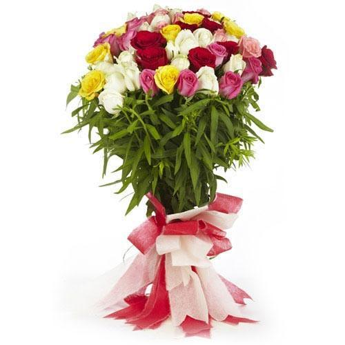 Colorful Mixed Roses and Fresh Green Fillers - from Best Flower Delivery in India