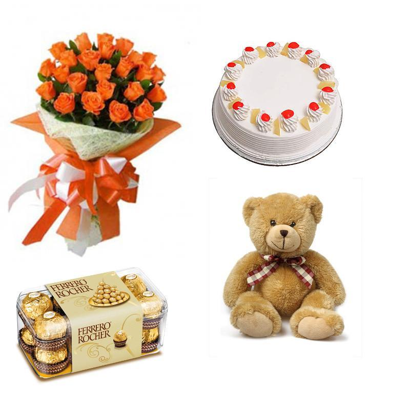 Orange Roses, Chocolate, Teddy and Cake Combo