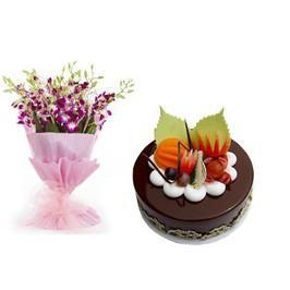 Purple Orchids and Chocolate Cake Combo - from Best Flower Delivery in Main | Gifts