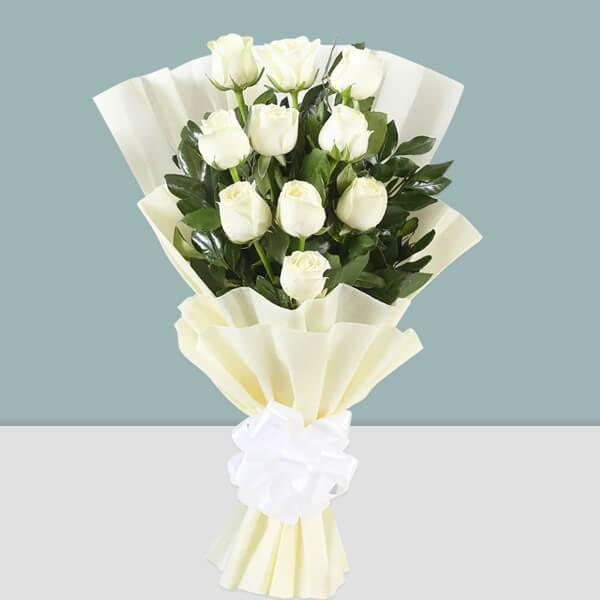 Peaceful Memory-white rose bouquet - from Best Flower Delivery in India