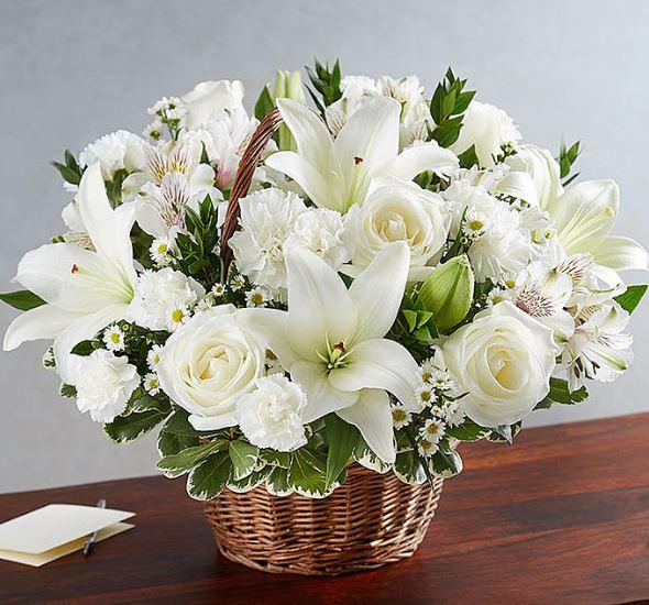 Peaceful White Basket - for Online Flower Delivery In Category | Flowers | Flowers Basket
